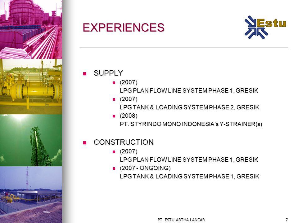 PT. ESTU ARTHA LANCAR7 EXPERIENCES SUPPLY SUPPLY (2007) (2007) LPG PLAN FLOW LINE SYSTEM PHASE 1, GRESIK (2007) (2007) LPG TANK & LOADING SYSTEM PHASE