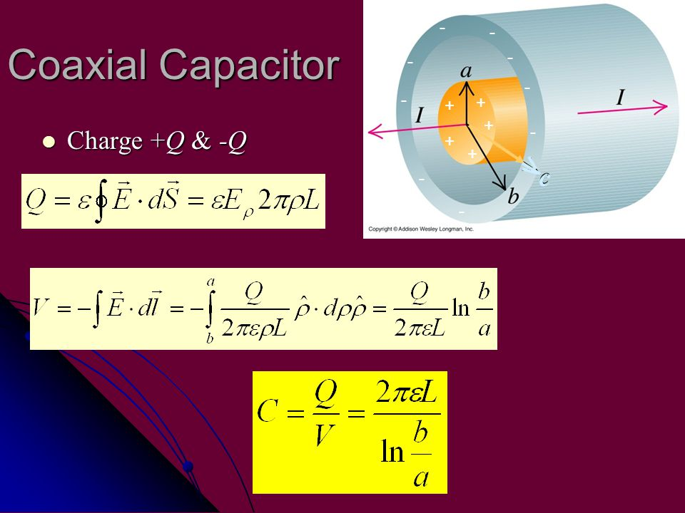 Coaxial Capacitor Charge +Q & -Q Charge +Q & -Q Dielectric,  Plate area, S + + + + + - - - - - - - - - c