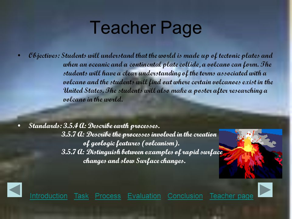 Teacher Page Objectives: Students will understand that the world is made up of tectonic plates and when an oceanic and a continental plate collide, a volcano can form.