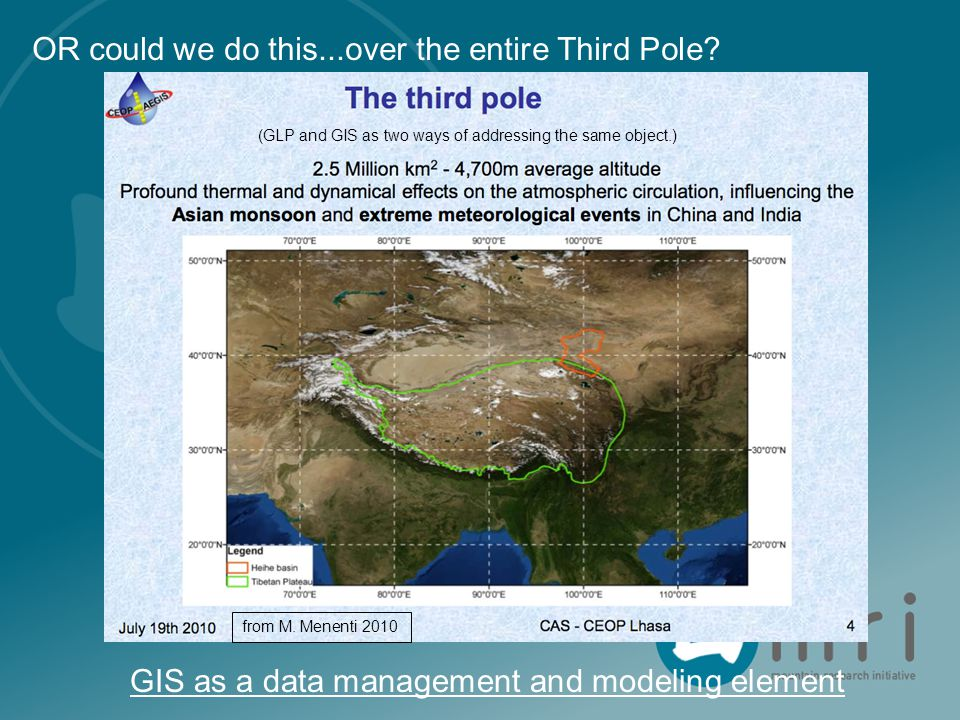 OR could we do this...over the entire Third Pole? from M. Menenti 2010 GIS as a data management and modeling element (GLP and GIS as two ways of addre