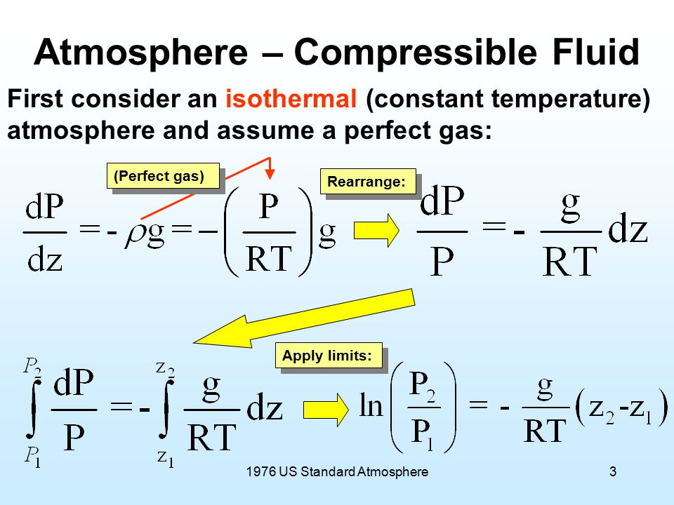 1976 US Standard Atmosphere3 Atmosphere – Compressible Fluid First consider an isothermal (constant temperature) atmosphere and assume a perfect gas: Rearrange: (Perfect gas) Apply limits: