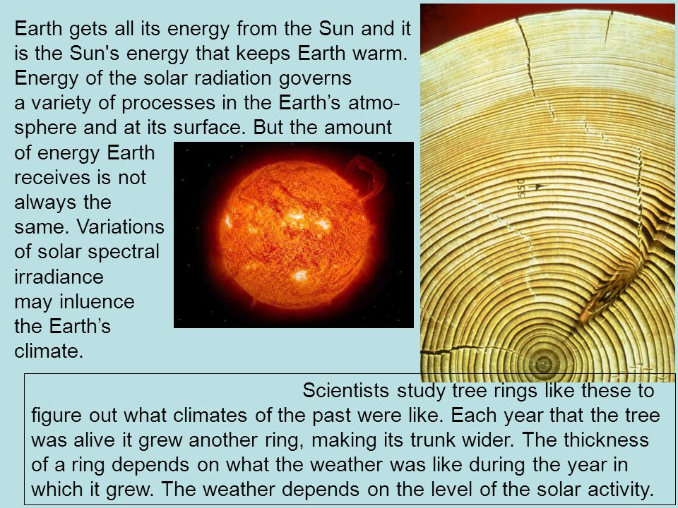 Earth gets all its energy from the Sun and it is the Sun s energy that keeps Earth warm.
