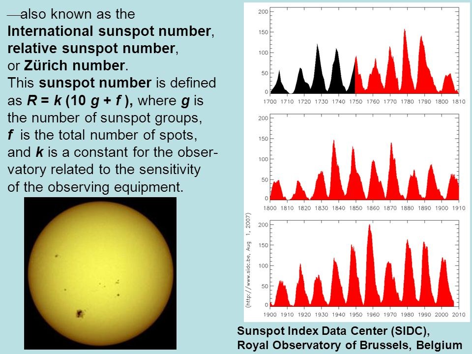  also known as the International sunspot number, relative sunspot number, or Zürich number.
