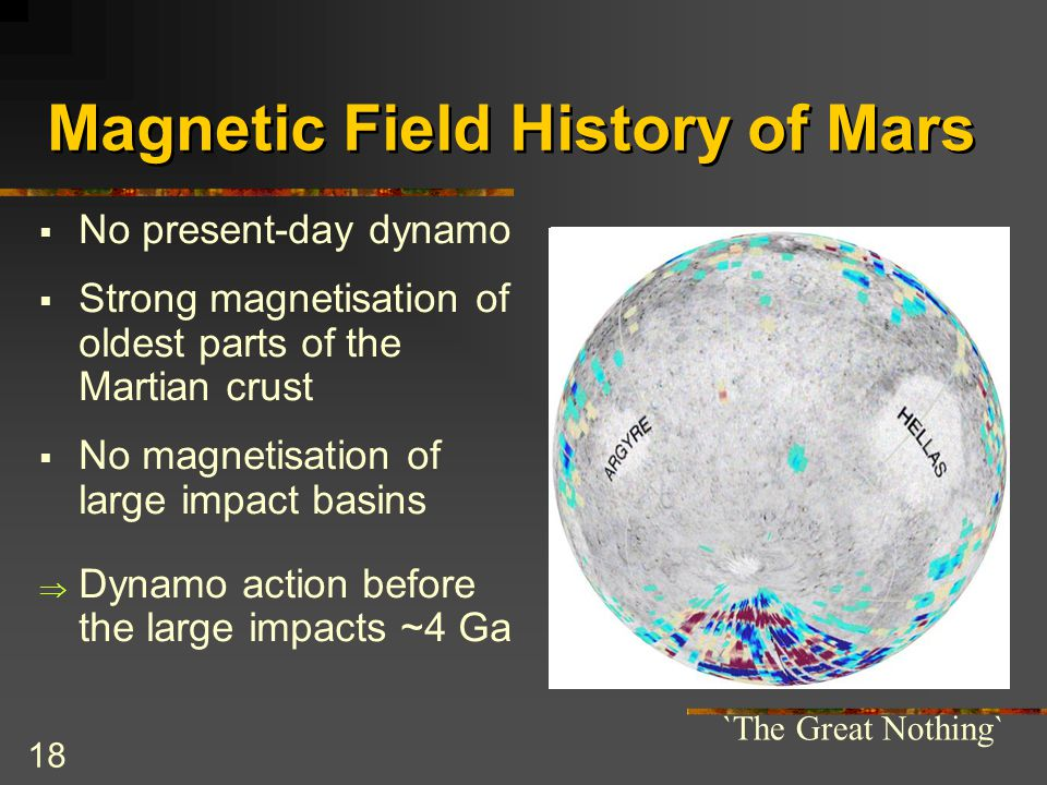 18 Magnetic Field History of Mars  No present-day dynamo  Strong magnetisation of oldest parts of the Martian crust  No magnetisation of large impa