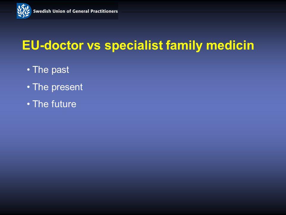 EU-doctor vs specialist family medicin The past The present The future