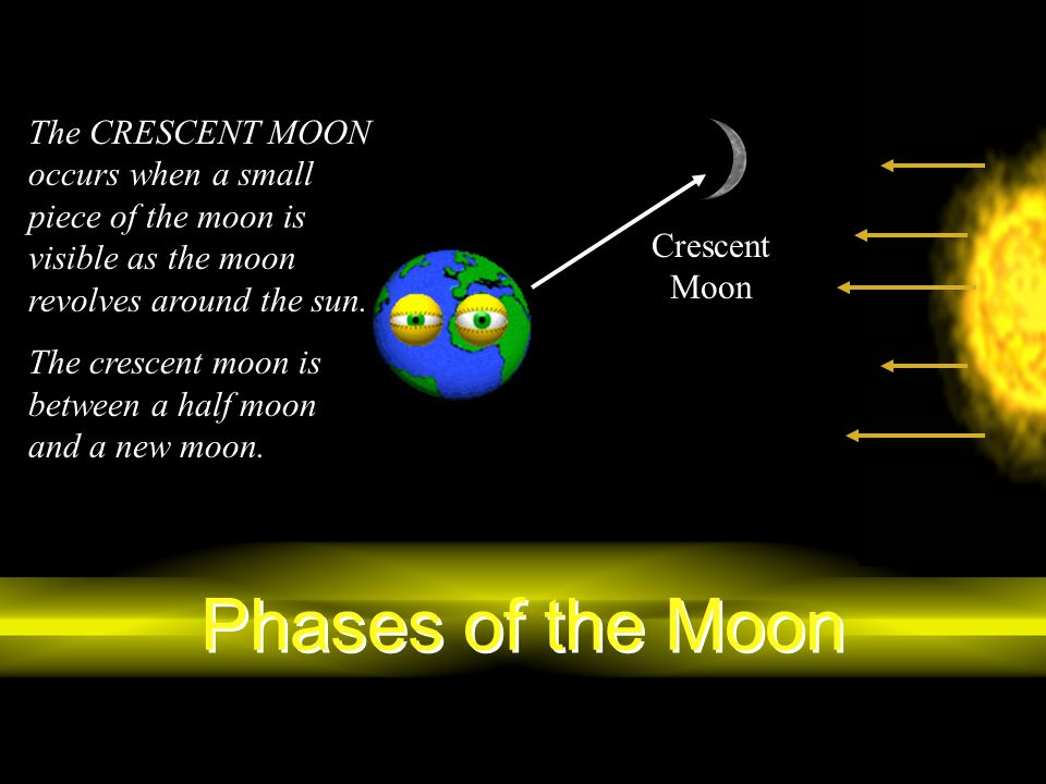 Phases of the Moon The CRESCENT MOON occurs when a small piece of the moon is visible as the moon revolves around the sun. The crescent moon is betwee