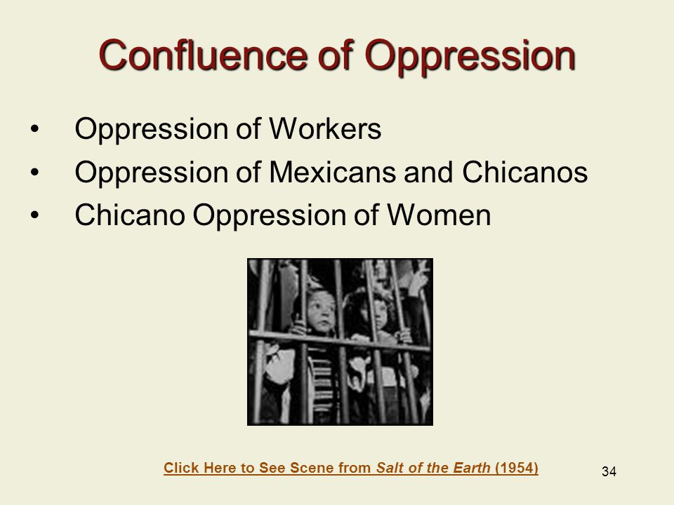 34 Confluence of Oppression Oppression of Workers Oppression of Mexicans and Chicanos Chicano Oppression of Women Click Here to See Scene from Salt of