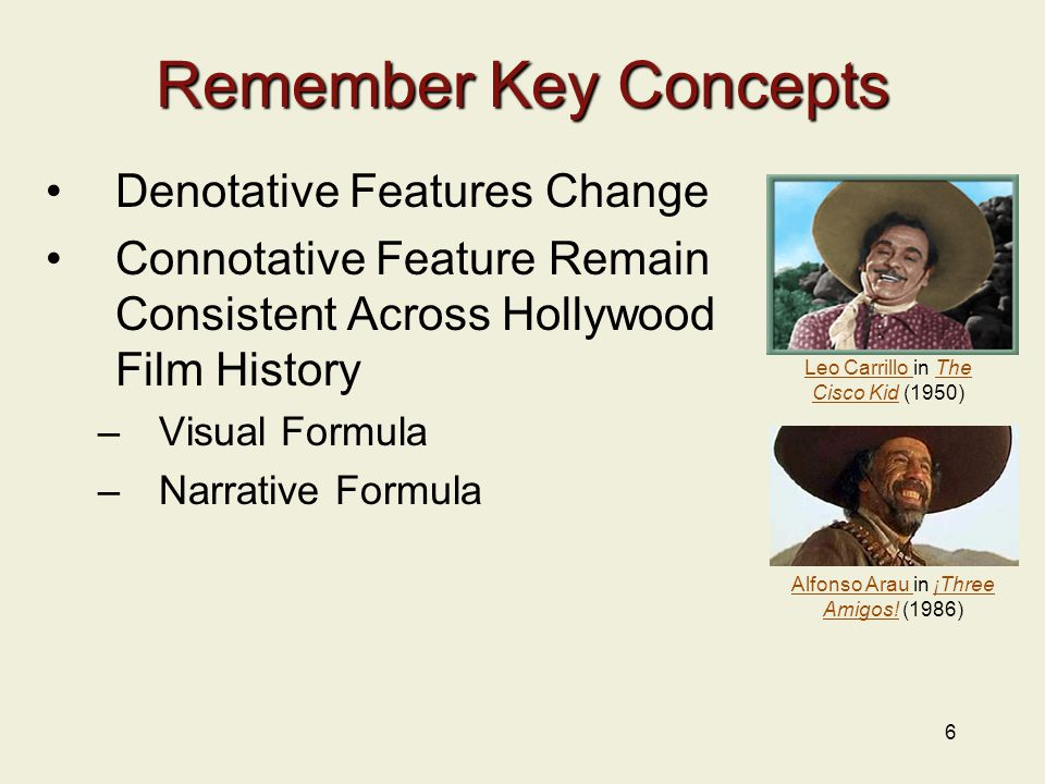 6 Remember Key Concepts Denotative Features Change Connotative Feature Remain Consistent Across Hollywood Film History –Visual Formula –Narrative Form