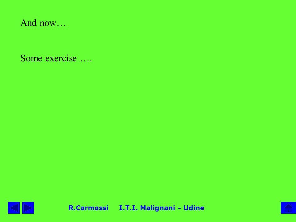 R.Carmassi I.T.I. Malignani - Udine And now… Some exercise ….