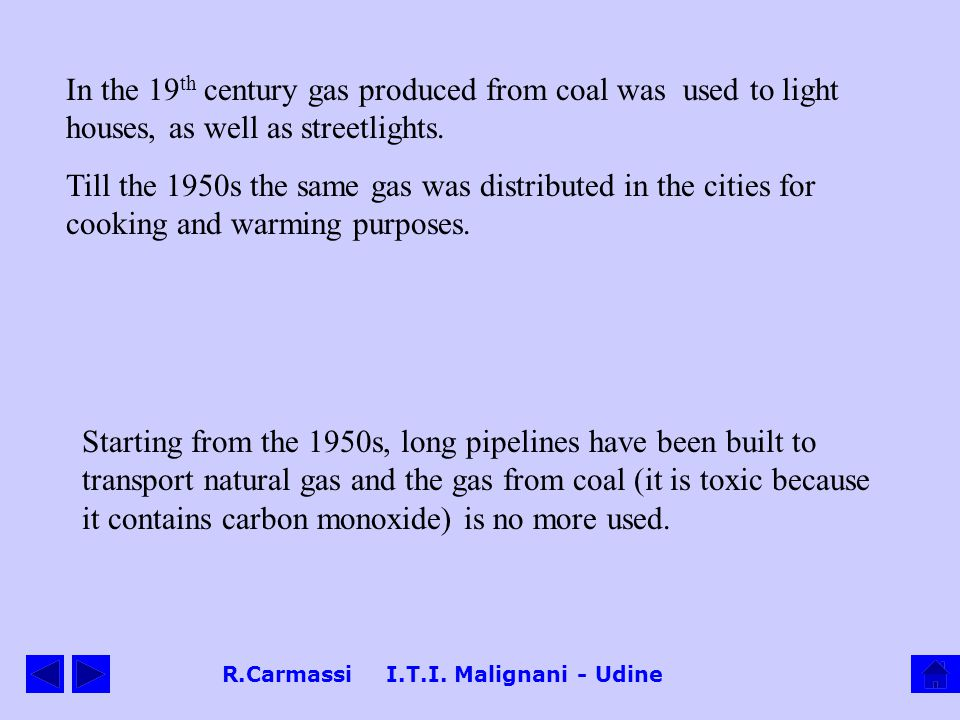 R.Carmassi I.T.I. Malignani - Udine In the 19 th century gas produced from coal was used to light houses, as well as streetlights. Till the 1950s the