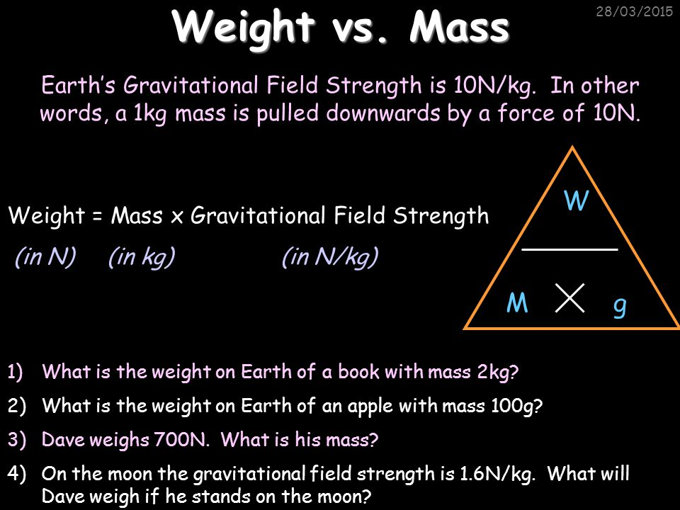28/03/2015 Weight vs.Mass Earth's Gravitational Field Strength is 10N/kg.