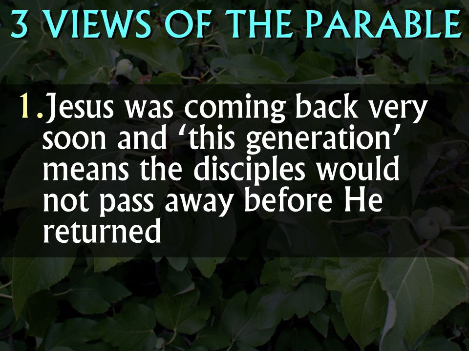 3 VIEWS OF THE PARABLE  Jesus was coming back very soon and 'this generation' means the disciples would not pass away before He returned