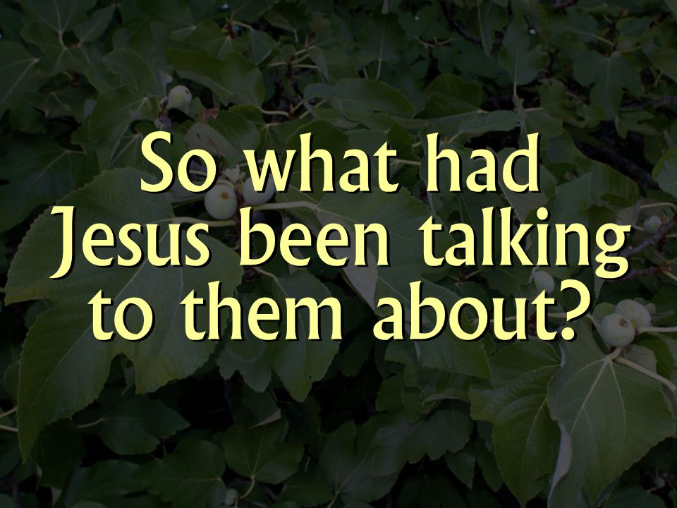 So what had Jesus been talking to them about?