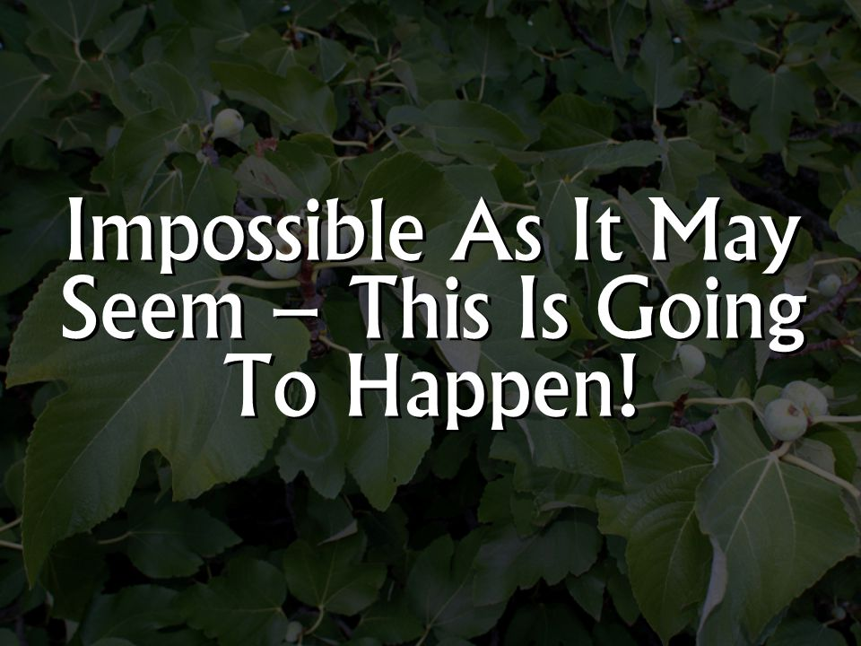 Impossible As It May Seem – This Is Going To Happen!