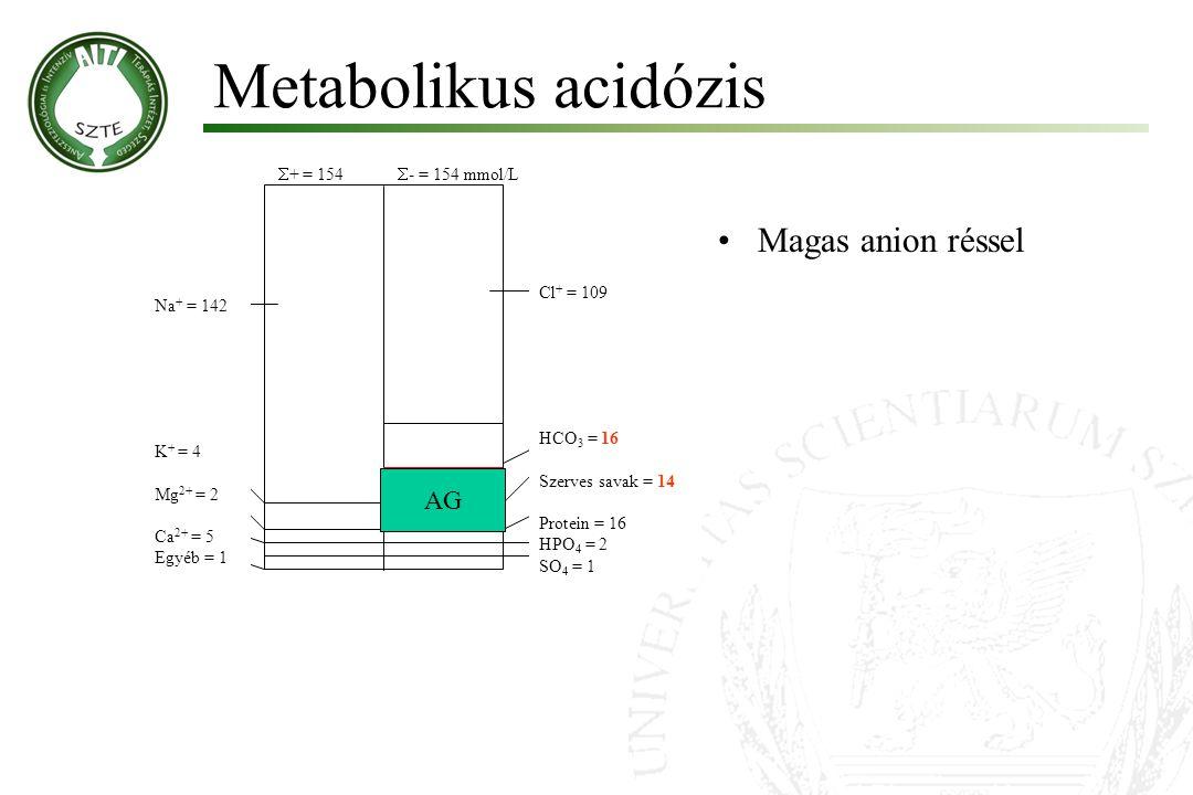 Metabolikus acidózis  + = 154  - = 154 mmol/L HCO 3 = 16 Szerves savak = 14 Protein = 16 HPO 4 = 2 SO 4 = 1 Cl + = 109 Na + = 142 K + = 4 Mg 2+ = 2