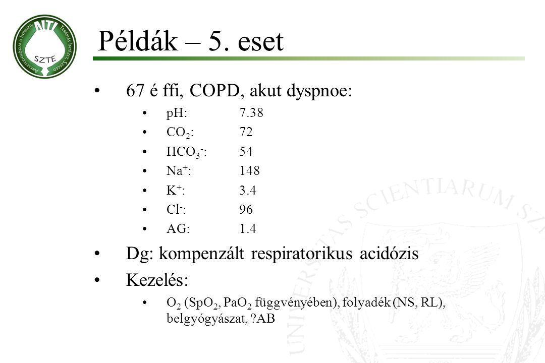 67 é ffi, COPD, akut dyspnoe: pH:7.38 CO 2 :72 HCO 3 - :54 Na + :148 K + :3.4 Cl - :96 AG:1.4 Dg: kompenzált respiratorikus acidózis Kezelés: O 2 (SpO