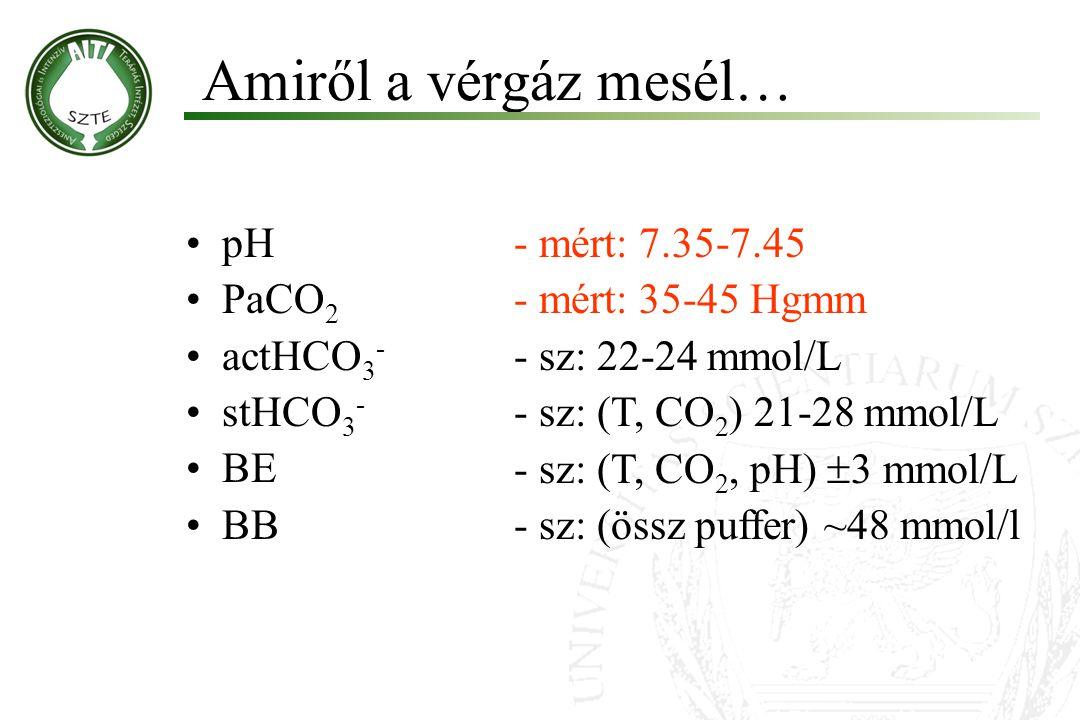pH PaCO 2 actHCO 3 - stHCO 3 - BE BB Amiről a vérgáz mesél… Molnár '99 - mért: 7.35-7.45 - mért: 35-45 Hgmm - sz: 22-24 mmol/L - sz: (T, CO 2 ) 21-28