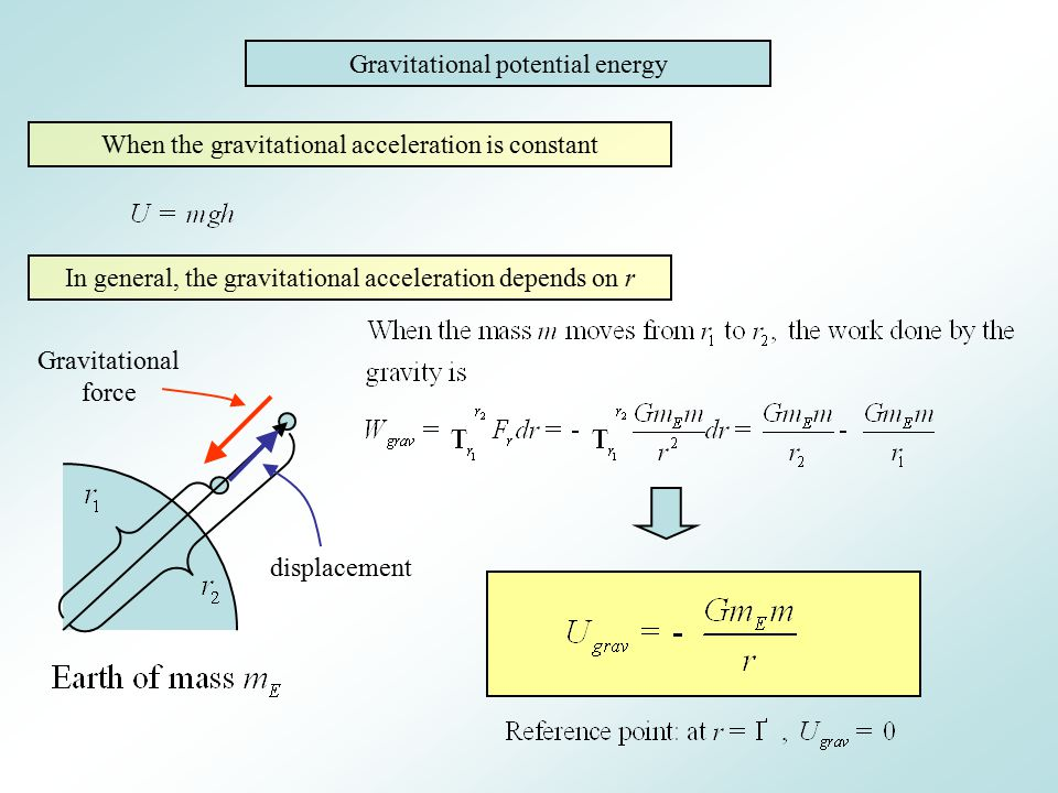 Gravitational potential energy When the gravitational acceleration is constant In general, the gravitational acceleration depends on r Gravitational f