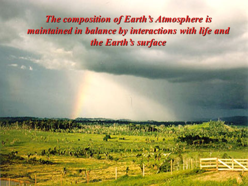 The composition of Earth's Atmosphere is maintained in balance by interactions with life and the Earth's surface