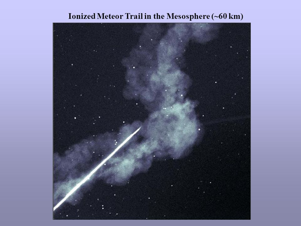 Ionized Meteor Trail in the Mesosphere (~60 km)