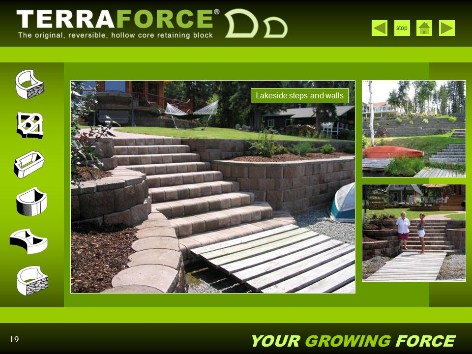YOUR GROWING FORCE stop 19 Lakeside steps and walls