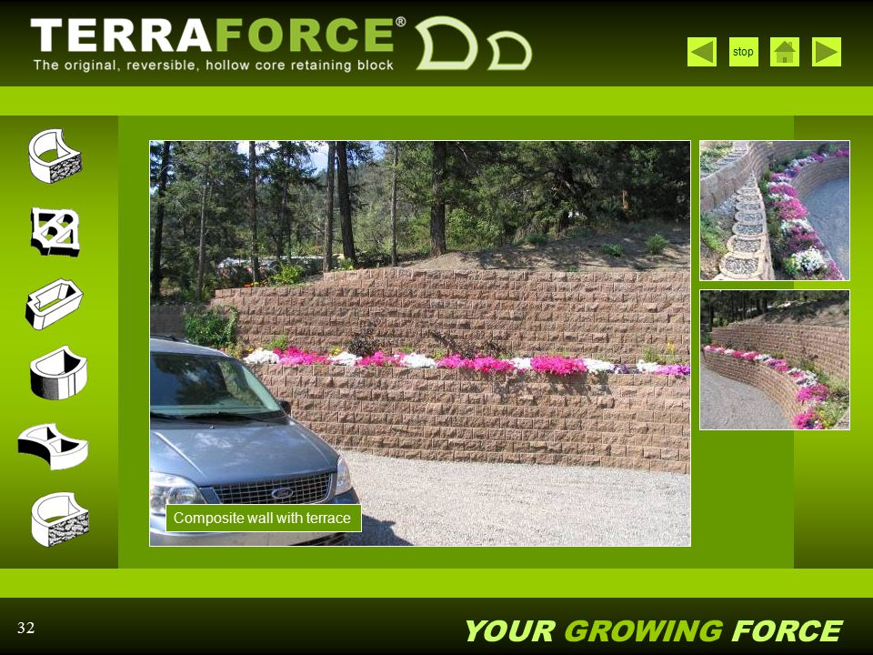 YOUR GROWING FORCE stop 32 Composite wall with terrace