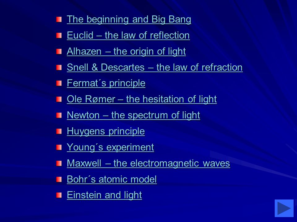 The beginning and Big Bang The beginning and Big Bang Euclid – the law of reflection Euclid – the law of reflection Alhazen – the origin of light Alhazen – the origin of light Snell & Descartes – the law of refraction Snell & Descartes – the law of refraction Fermat´s principle Fermat´s principle Ole Rømer – the hesitation of light Ole Rømer – the hesitation of light Newton – the spectrum of light Newton – the spectrum of light Huygens principle Huygens principle Young´s experiment Young´s experiment Maxwell – the electromagnetic waves Maxwell – the electromagnetic waves Bohr´s atomic model Bohr´s atomic model Einstein and light Einstein and light