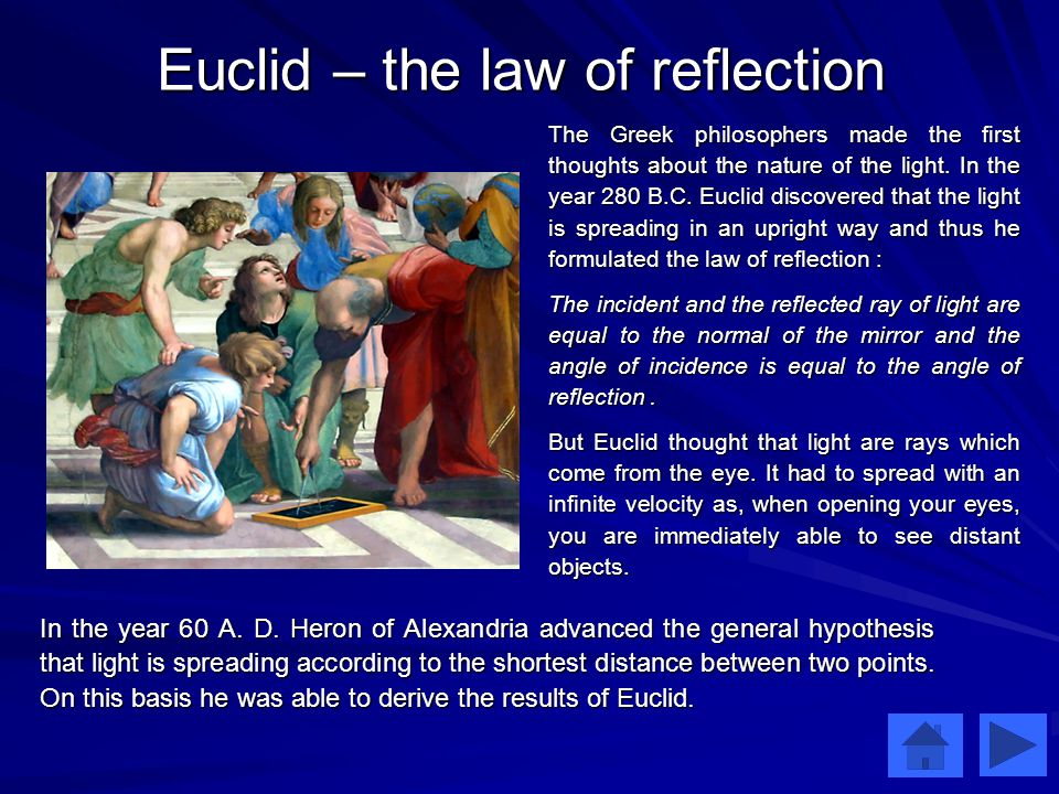 Euclid – the law of reflection The Greek philosophers made the first thoughts about the nature of the light.