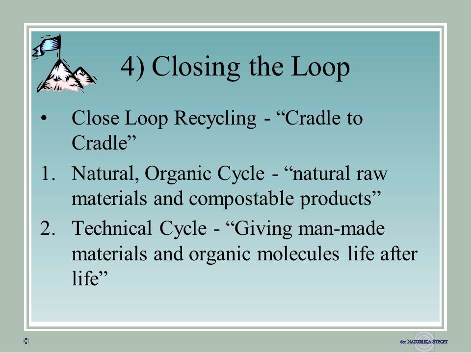 """© © 4) Closing the Loop Close Loop Recycling - """"Cradle to Cradle"""" 1.Natural, Organic Cycle - """"natural raw materials and compostable products"""" 2.Techni"""