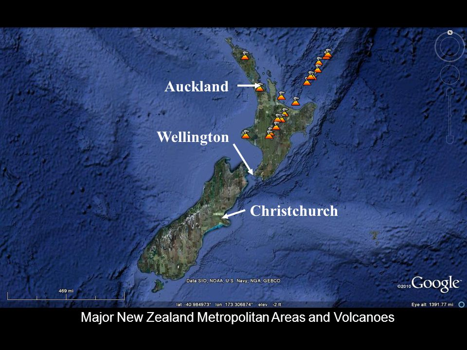 Christchurch Auckland Wellington Major New Zealand Metropolitan Areas and Volcanoes
