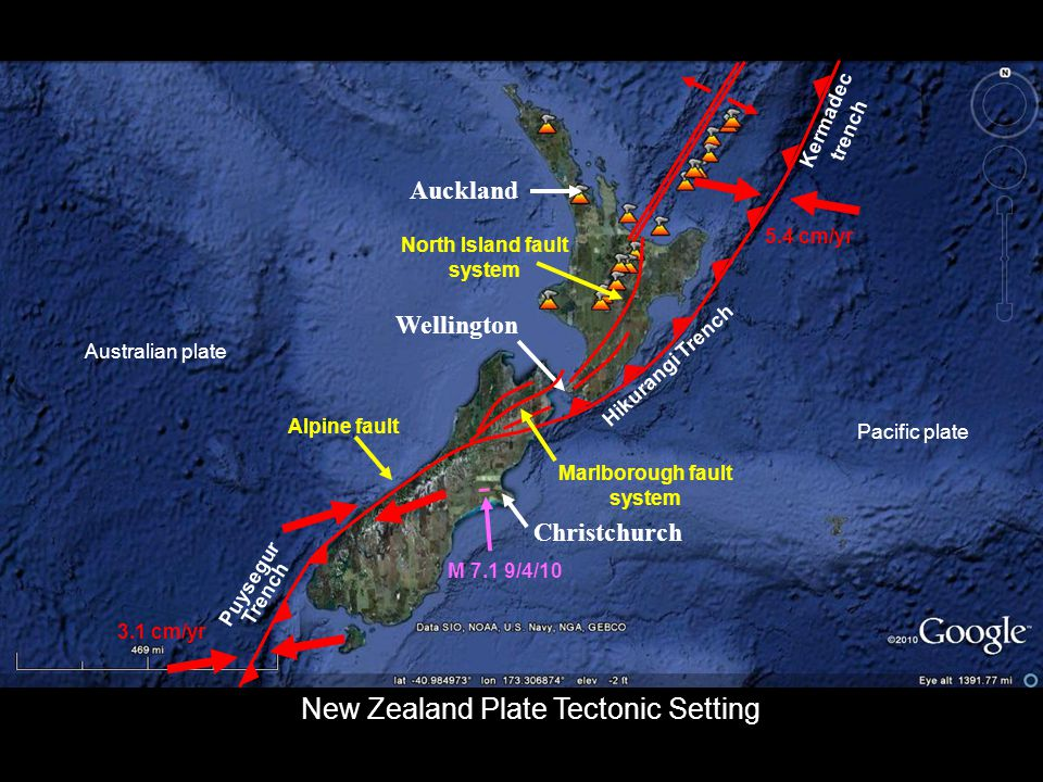 Kermadec Trench Christchurch Auckland Wellington Hikurangi Trench Puysegur Trench 3.1 cm/yr 5.4 cm/yr Alpine fault Marlborough fault system North Island fault system M 7.1 9/4/10 Pacific plate Australian plate Kermadec trench New Zealand Plate Tectonic Setting