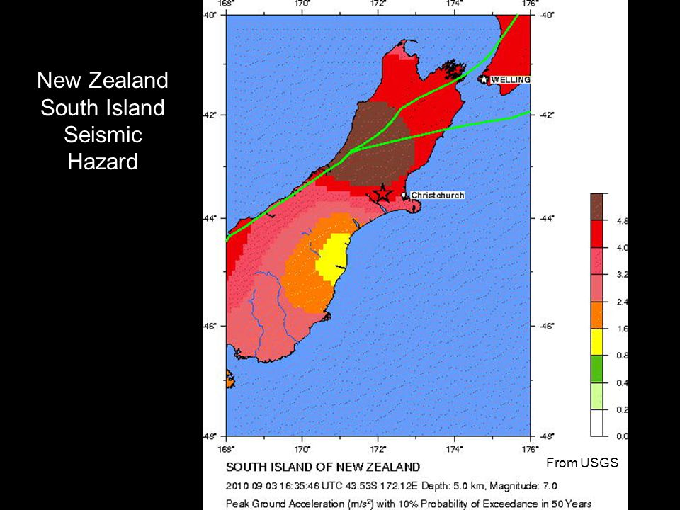 New Zealand South Island Seismic Hazard From USGS