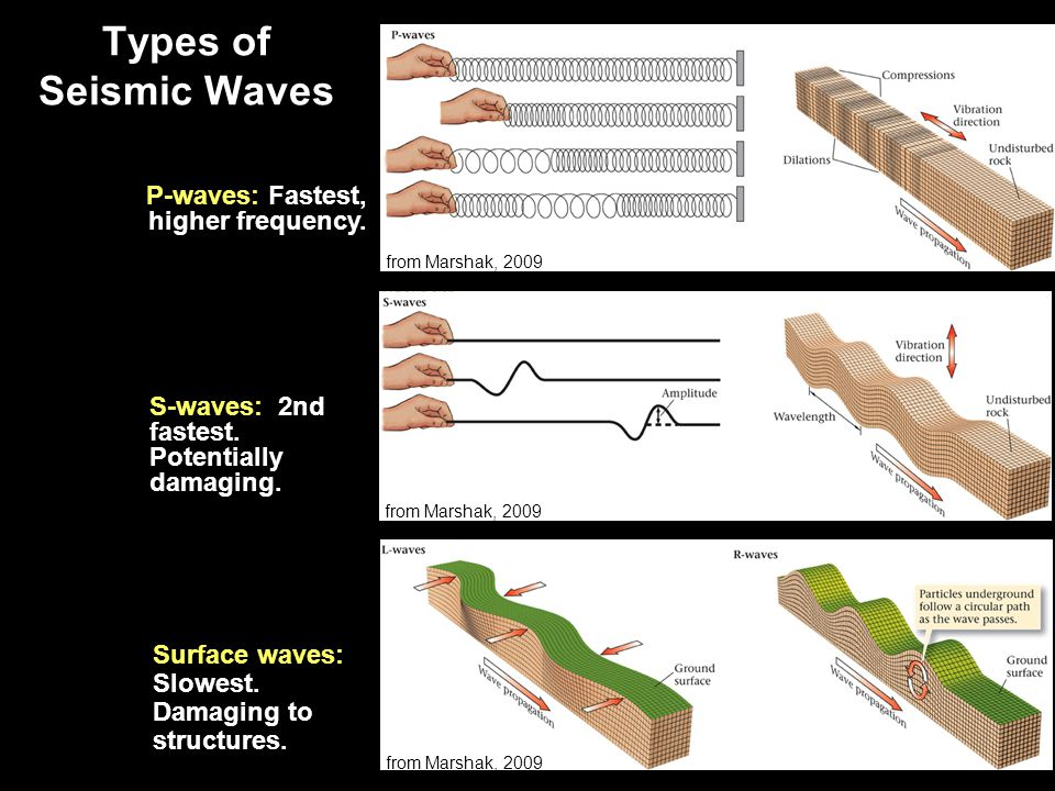 Types of Seismic Waves P-waves: Fastest, higher frequency.
