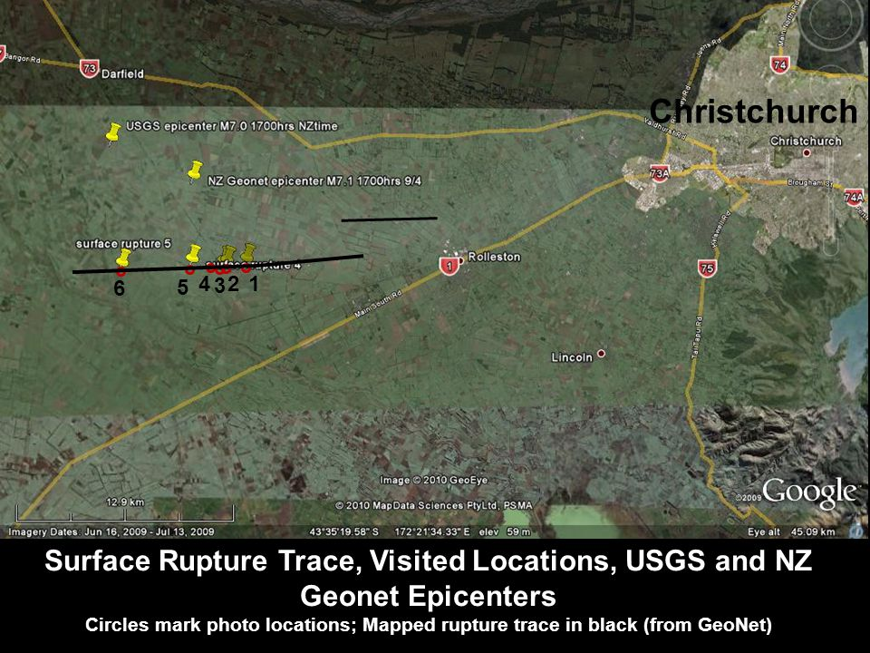 Surface Rupture Trace, Visited Locations, USGS and NZ Geonet Epicenters Circles mark photo locations; Mapped rupture trace in black (from GeoNet) 6 2 5 3 1 4 Christchurch
