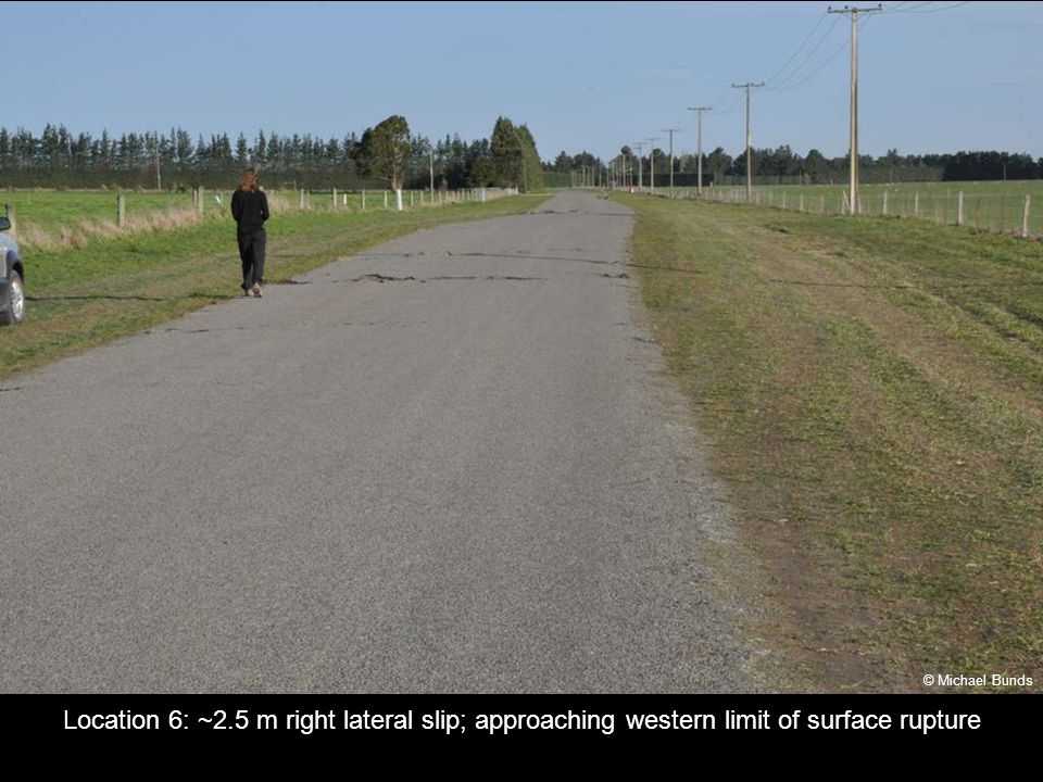 Location 6: ~2.5 m right lateral slip; approaching western limit of surface rupture © Michael Bunds