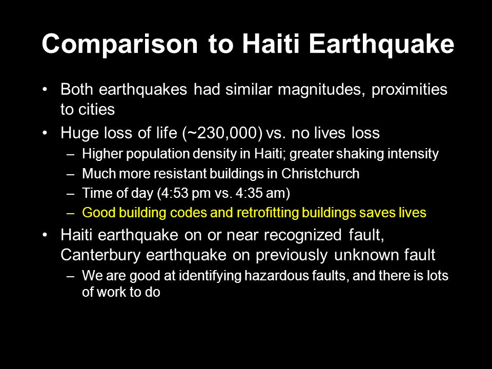 Comparison to Haiti Earthquake Both earthquakes had similar magnitudes, proximities to cities Huge loss of life (~230,000) vs.