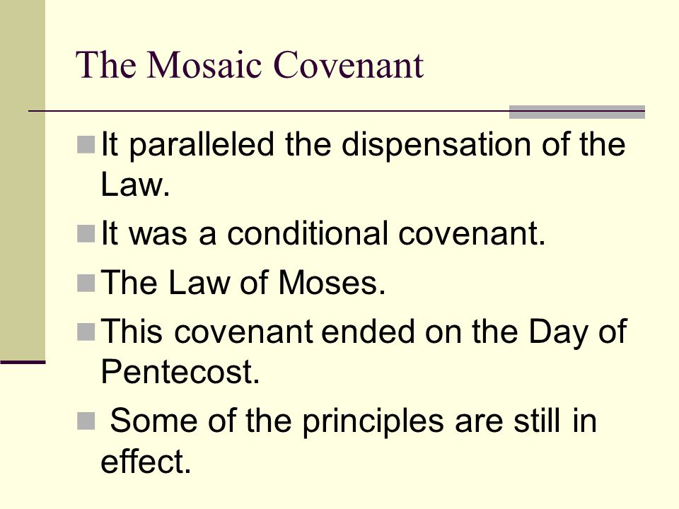 The Palestinian Covenant Actually a continuation of the Mosaic Covenant (Duet.