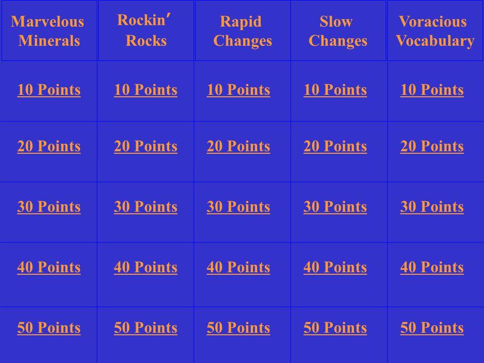 10 Points 20 Points 30 Points 40 Points 50 Points 10 Points 20 Points 30 Points 40 Points 50 Points 10 Points 20 Points 30 Points 40 Points 50 Points 10 Points 20 Points 30 Points 40 Points 50 Points 10 Points 20 Points 30 Points 40 Points 50 Points Rockin' Rocks Slow Changes Voracious Vocabulary Rapid Changes Marvelous Minerals