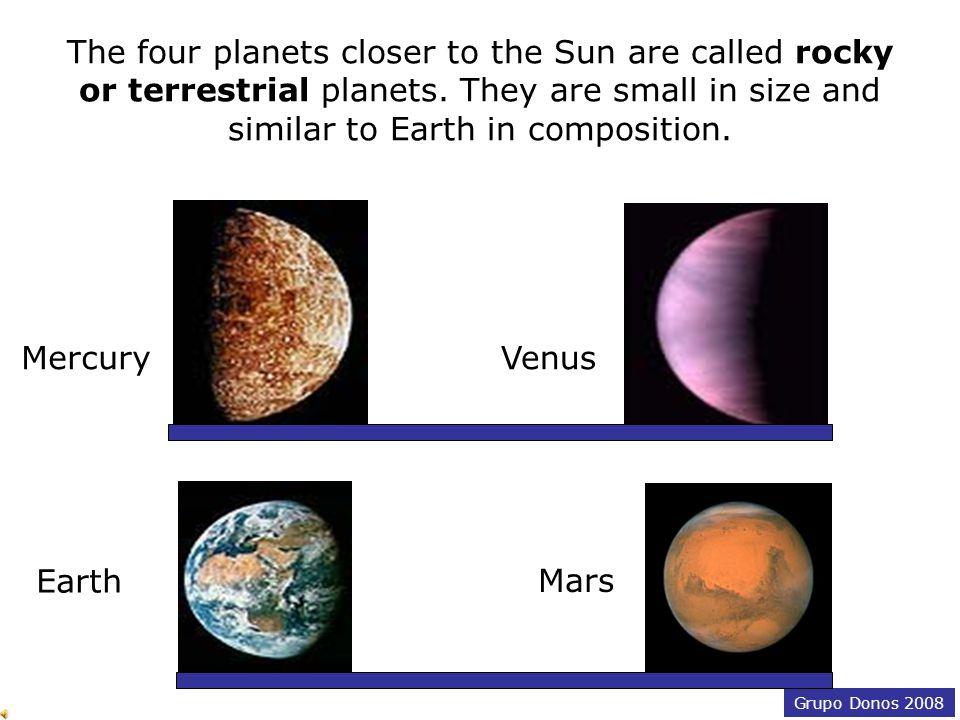 Grupo Donos 2008 MercuryVenus Earth Mars Planets come in different sizes and colours.
