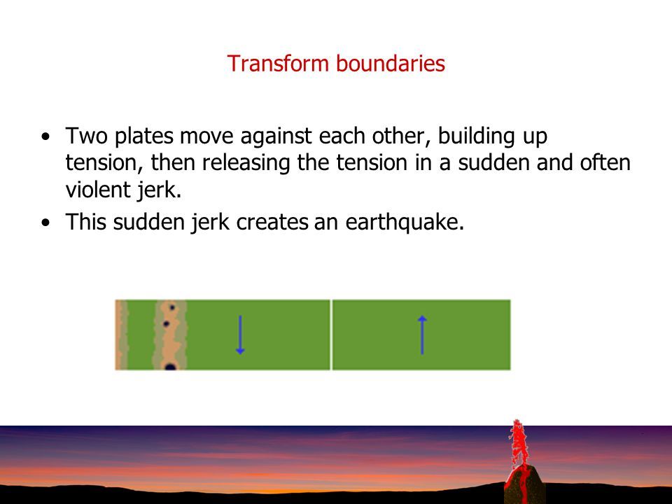 Collisional boundaries When two land masses meet, neither will slide under the other. They crumple and fold. Some pieces of land are thrust over or un