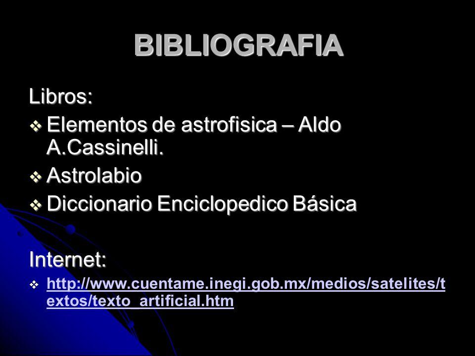 BIBLIOGRAFIA Libros: EEEElementos de astrofisica – Aldo A.Cassinelli. AAAAstrolabio DDDDiccionario Enciclopedico Básica Internet: hhttp: