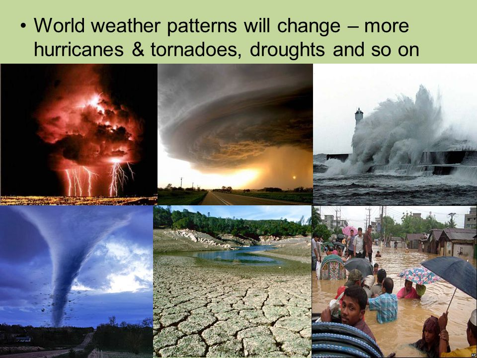 World weather patterns will change – more hurricanes & tornadoes, droughts and so on