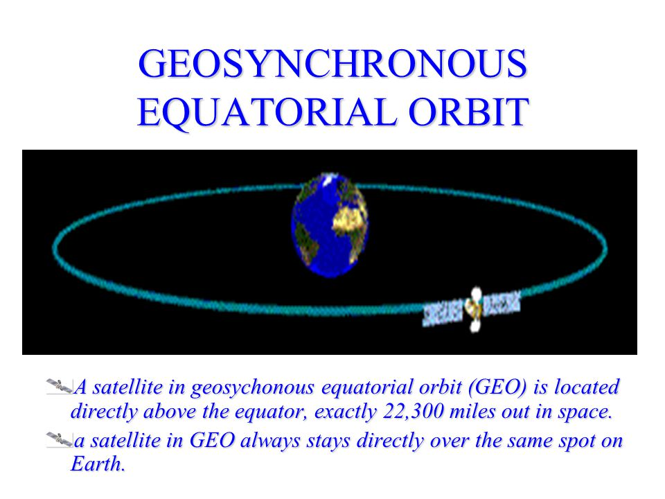 GEOSYNCHRONOUS EQUATORIAL ORBIT A satellite in geosychonous equatorial orbit (GEO) is located directly above the equator, exactly 22,300 miles out in space.