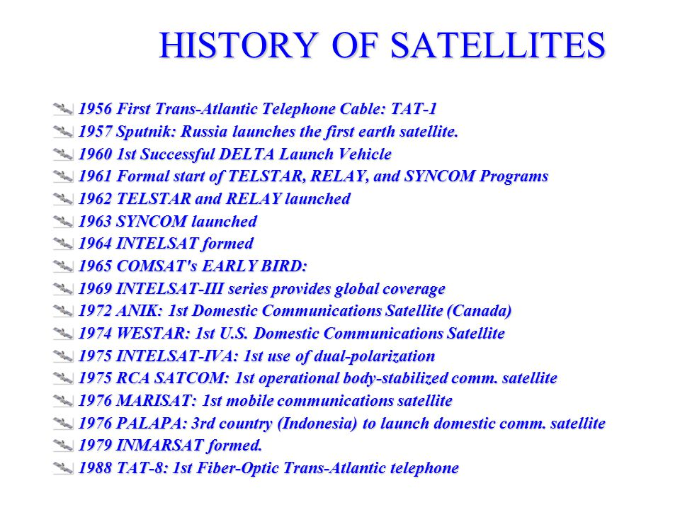 1956 First Trans-Atlantic Telephone Cable: TAT-1 1957 Sputnik: Russia launches the first earth satellite.