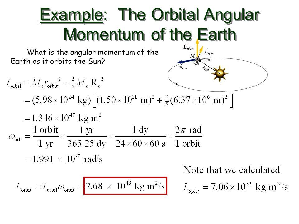 Example: The Orbital Angular Momentum of the Earth What is the angular momentum of the Earth as it orbits the Sun?