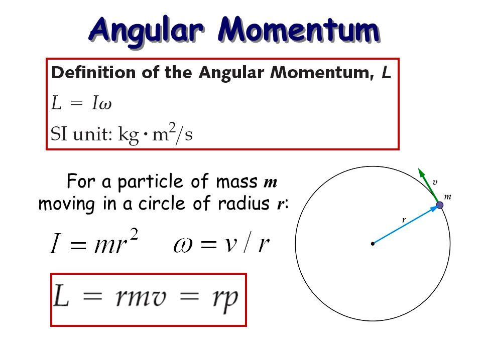 Conservation of Angular Momentum If the net external torque on a system is zero, the angular momentum is conserved.