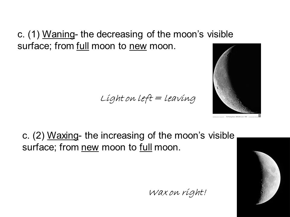 c. (1) Waning- the decreasing of the moon's visible surface; from full moon to new moon. c. (2) Waxing- the increasing of the moon's visible surface;
