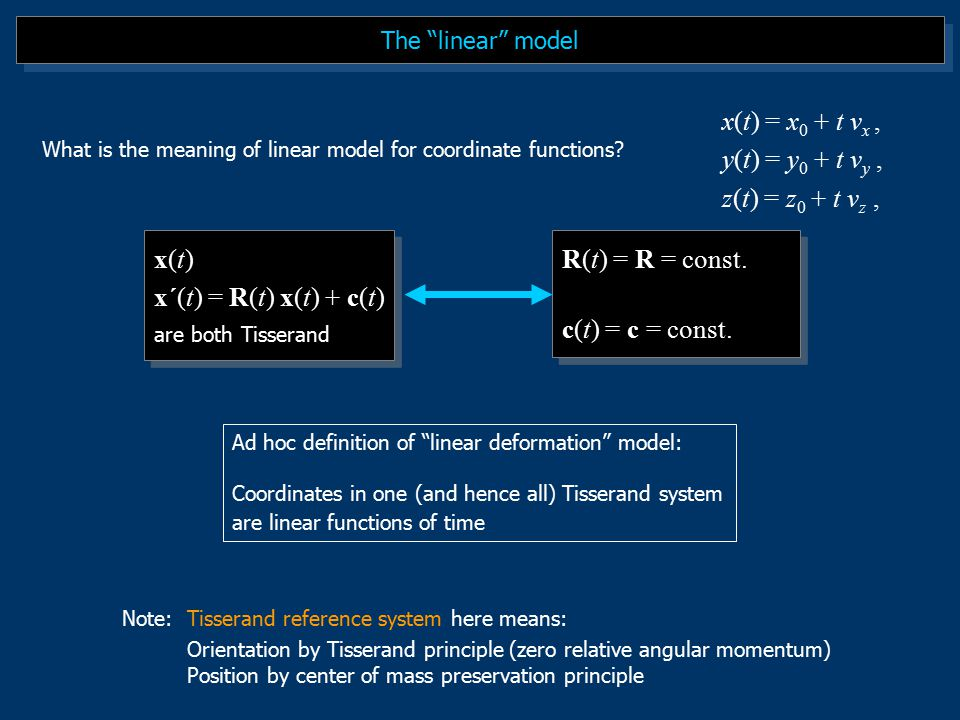 The linear model Ad hoc definition of linear deformation model: Coordinates in one (and hence all) Tisserand system are linear functions of time x(t) x´(t) = R(t) x(t) + c(t) are both Tisserand x(t) x´(t) = R(t) x(t) + c(t) are both Tisserand Note:Tisserand reference system here means: Orientation by Tisserand principle (zero relative angular momentum) Position by center of mass preservation principle R(t) = R = const.
