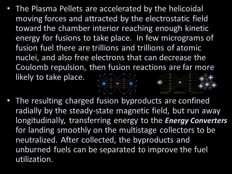 The Plasma Pellets are accelerated by the helicoidal moving forces and attracted by the electrostatic field toward the chamber interior reaching enough kinetic energy for fusions to take place.