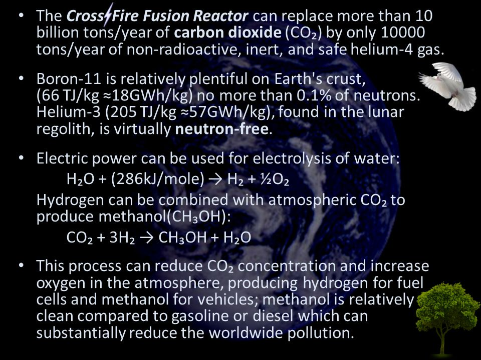 The Cross Fire Fusion Reactor can replace more than 10 billion tons/year of carbon dioxide (CO₂) by only 10000 tons/year of non-radioactive, inert, and safe helium-4 gas.